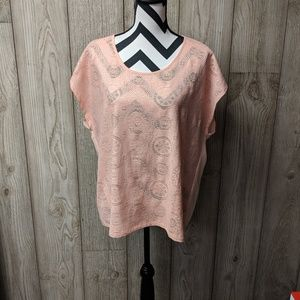 Forever21+ peach lace front shirt